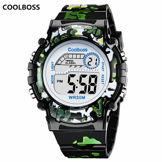 Camouflage Watches Children Watch Led Digital Wristwatch Kids Boys Girs Students