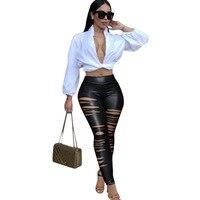 Venta al por mayor slim fit bodysuit mujeres leggings de cuero negro bodycon mono cortar pantalones largos flacos DN8045