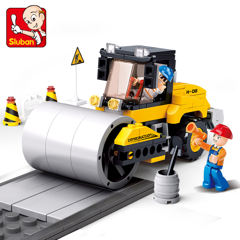 Sluban Building Block City Town Construction Heavy Engineering Street Roller 171pcs Educational Bricks Toy Boy стоимость