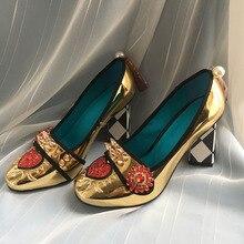 Phoentin זהב גבוהה עקבים נשים קריסטל פרח נעלי פרינג עם מסמרת 2020 אופנה אפליקציות גבירותיי משאבות עור אמיתי FT621G