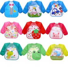 Children Apron Clothing Bibs Feeding-Smock Eating Breastplate Long-Sleeve Baby Waterproof
