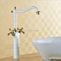 O Envio gratuito de Preço de Fábrica Pia Da Cozinha Mixer Torneira Duas Alças torneira de Ouro branco pintado torneira água da torneira Do Banheiro Venda ZR574