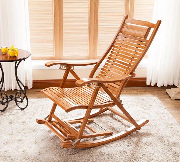 Bamboo Chair Rocking Recliner Folding Leisure Balcony Chairs Nap Outdoor  Shade Beach