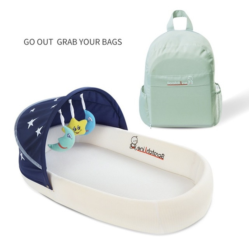 Portable Crib Multifunctional Foldable Baby Bed with Detachable Mattress Large Capacity Backpack Design Bionic Bed for