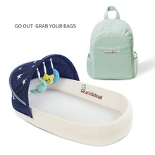 Portable Crib Multifunctional Foldable Baby Bed with Detachable Mattress Large Capacity Backpack Design Bionic Bed for Newborns teknum crib newborns multi function portable bed bionic baby game bed