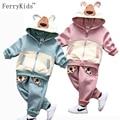 Предупредить Детей Одежда Мальчики Комплект Одежды Зимой Дети комплект Одежды Малыша Мальчиков Одежда С Капюшоном Baby Boy Одежда Набор 2016 Новый