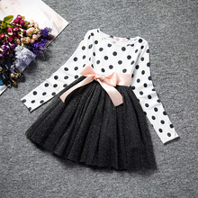 Winter Dress For Girl Long Sleeve Bow-Knot Princess Girls Dresses Polka Dot Bow Print Children Girls Casual Baby Clothes 8 Years