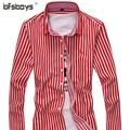 New Brand Mens Shirt Formal Long Sleeve Cotton Male Casual Fashion Stripe Slim Lapel Single Breasted Shirts C16-P30