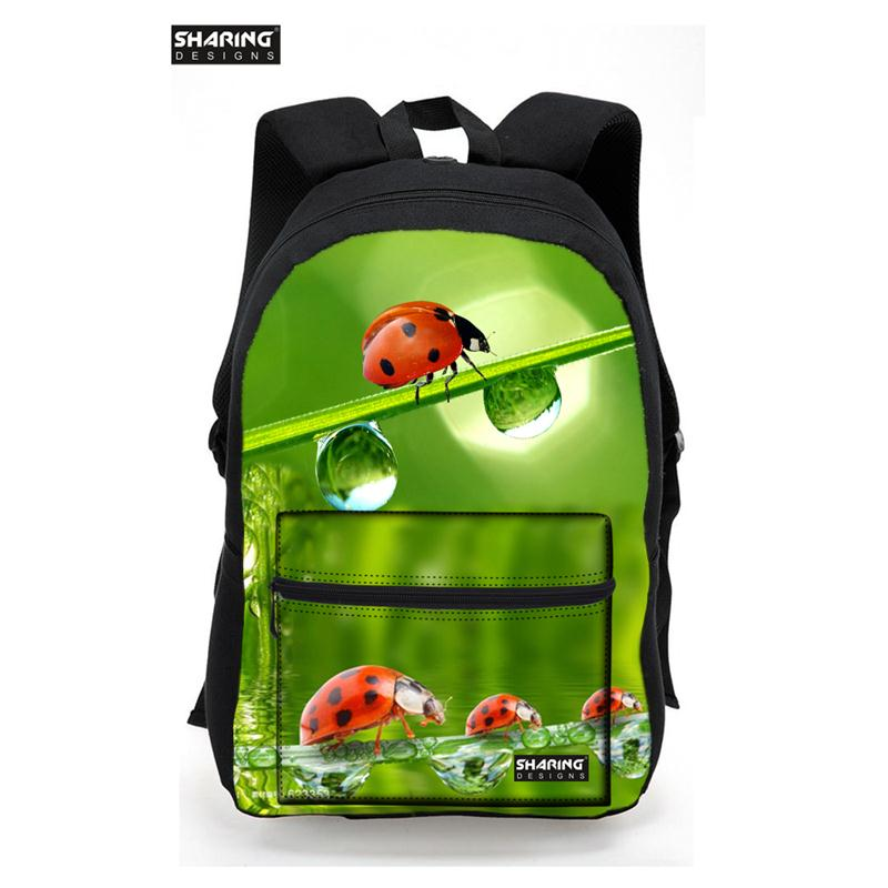 HOT 3D Colorful Animals Beetle Tiger Ladybug Printing School Bags For Teenager Boys Children School Bags