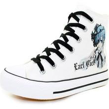 Nuevas mujeres/hombres ocasionales high-top zapatos de lona estudiante diario de Dibujos Animados Anime Negro Mayordomo Cosplay Shoes tamaño 35-43