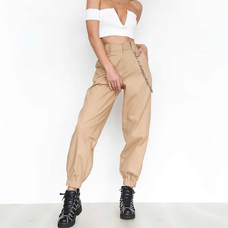 209e86f2720182 ... Fashion Harem Pants Women Loose Full Length Chains Pockets Women Trousers  Bottoms Khaki Black White Spring ...
