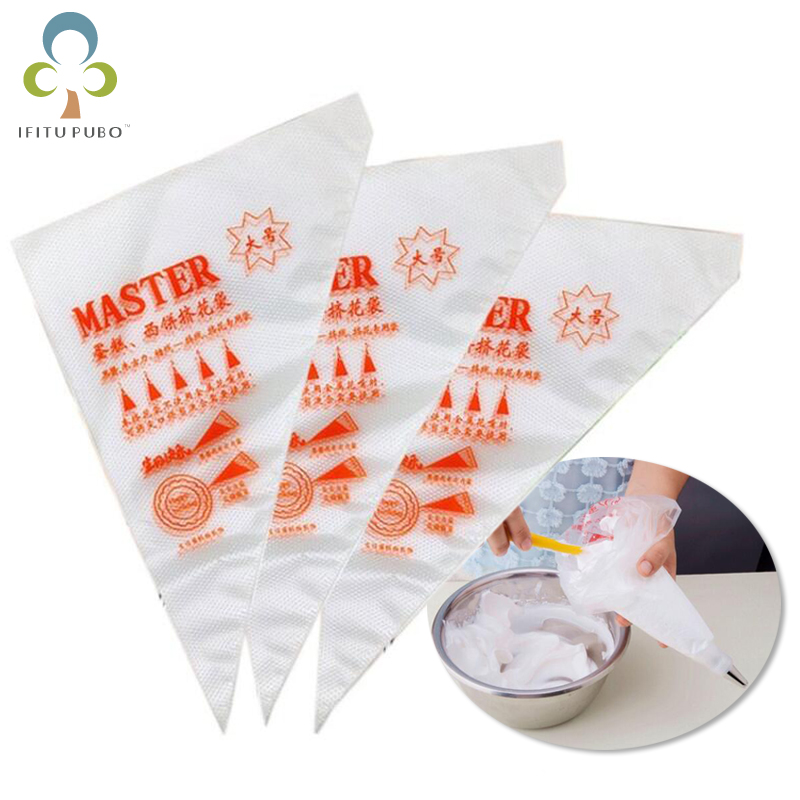 100Pcs/50Pcs Small Large Size Disposable Piping Bag Icing Fondant Cake Cream Bag Decorating Pastry Tip Tool GYH