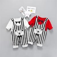 Spring Summer Baby 2Pcs Clothes Set Striped Cute Bear Overalls Long Sleeve T Shirt 2pcs Sets
