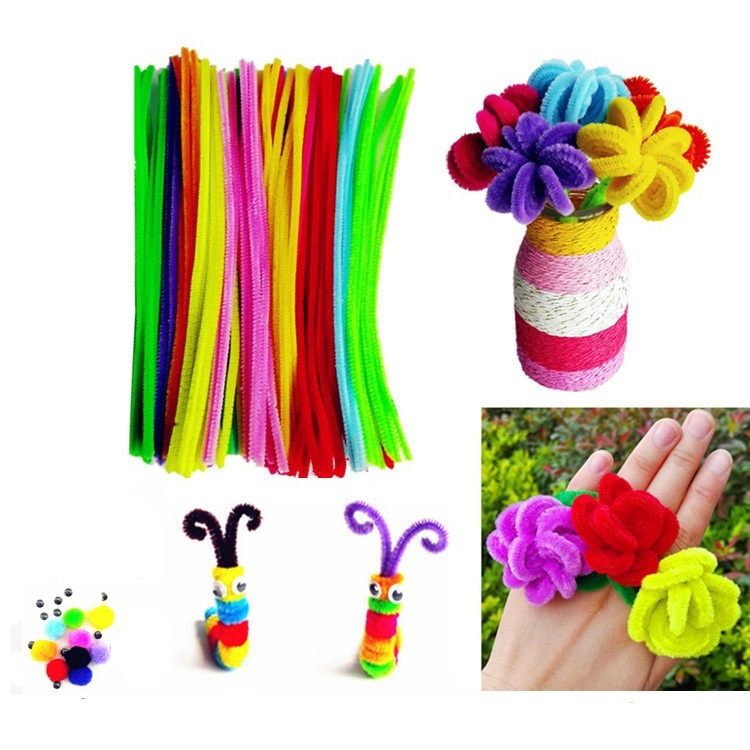100pcs Mix Colorful Chenille Stem Children's Educational Toys Handmade Art DIY Toys Plush Shilly-stick Christmas Decorations
