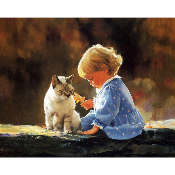 hot sale Cute child with a cat Diamond Painting Characters DIY Diamond Embroidery 5D Cross Stitch Rhinestone needlework k234