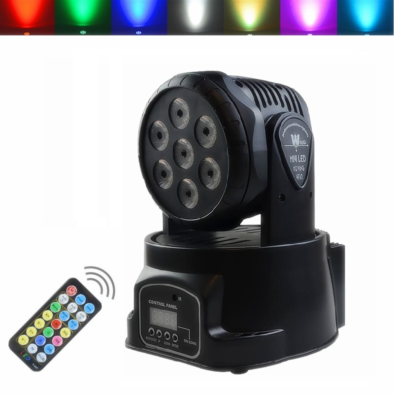 Remote Control 7LED DMX512 Multicolor Rotating Moving Head Stage Light Effect Sound Activated Projector Disco KTV Party DJ LightRemote Control 7LED DMX512 Multicolor Rotating Moving Head Stage Light Effect Sound Activated Projector Disco KTV Party DJ Light