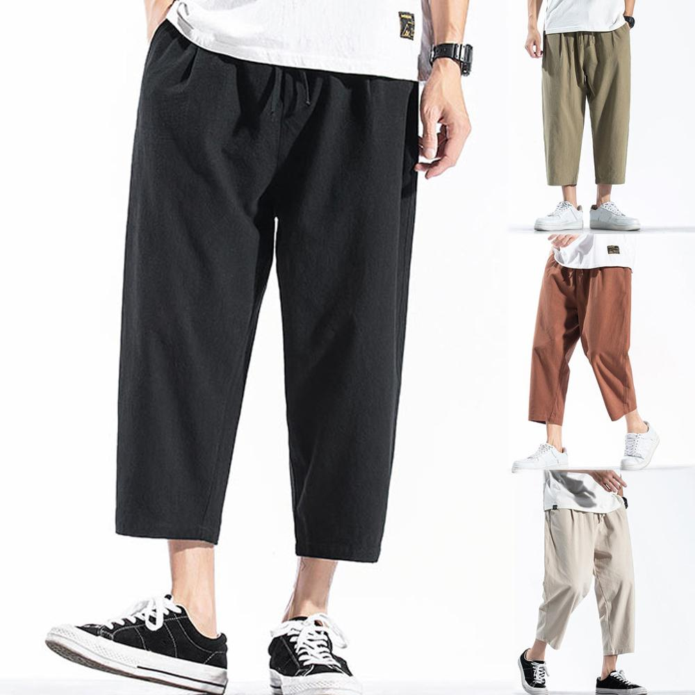 Men's Casual Vintage Loose Cotton Linen Pure Color Patchwork Ankle-Length Pant Casual Male Solid Loose cargo pants Jogger