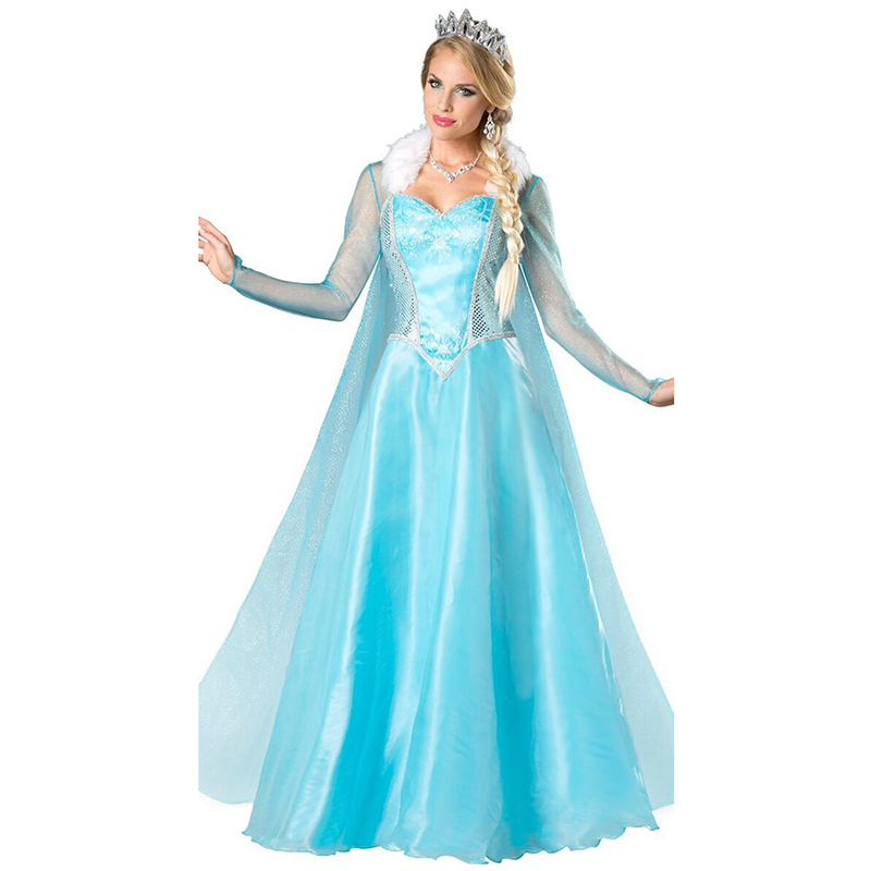 VASHEJIANG Adult Elsa Princess Costume Anime Fantasia Princess Cosplay Clothing Women Kigurumi Anime Halloween costume for women