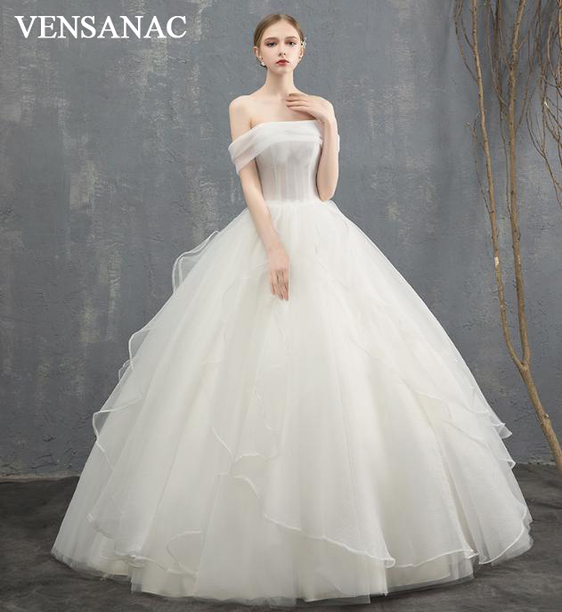 VENSANAC 2018 Elegant Boat Neck Lace Ball Gown Wedding Dresses Off The Shoulder Tiered Organza Backless Bridal Gowns in Wedding Dresses from Weddings Events