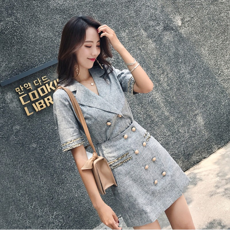 2019 summer Fashion Vintage OL Elegant Double Breasted skirts Suits Casual Blazers Coats And skirt Two Pieces Pant Suits