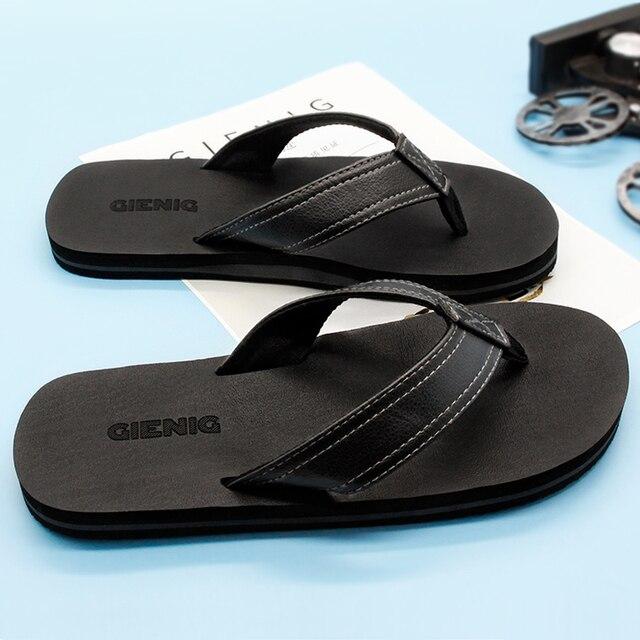 c31d3ed13b7725 Gienig 2018 Men s slippers flip flops men heavy bottom tide casual sandals  for home indoor anti-skid slippers home slippers