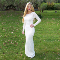 Long Sleeves White Lace Prom Dresses 2019 Elegant Formal Evening Party Dress Lace Appliques Gown robe de soiree Hollow Back