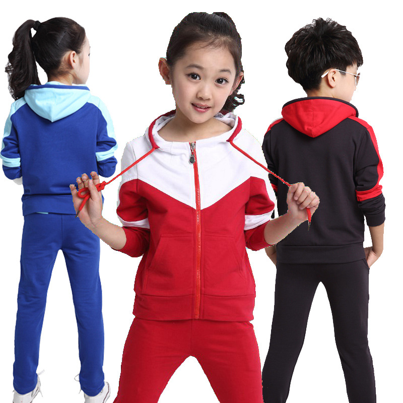CN-RUBR Patchwork Boys Girls Clothes Patchwork Hooded Children Clothing Sets Tracksuit Kids Coat+Pants Sports Suit For Boy Girl