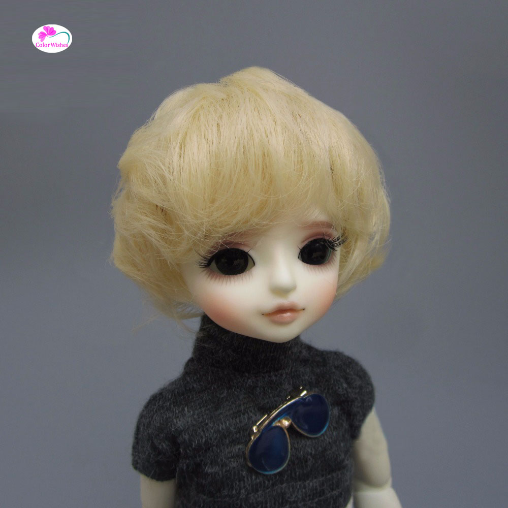 Fashion bjd doll hair for 1/3 1/4 1/6 BJD/SD doll wigs Accessories Light gold micro-roll short hair wowhot 1 4 bjd sd doll wigs for dolls high temperature wires short straight bangs fashion wig 1 6 1 3 for dolls accessories toy