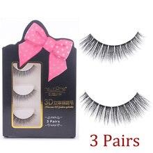 3 Pair 3D Eye lash Handmade Natural 3D Mink fake Lashes False Eyelashes Quality Thick Eyelash Extension Makeup Tools недорого