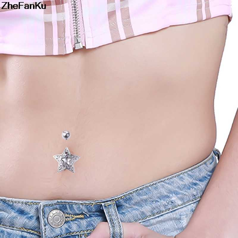 Korean Surgical Steel Body Jewelry Belly Button Piercing Navel Nail Navel Ring Sexy Shape Large Star Butterfly Zircon