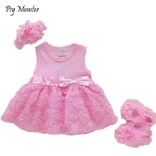 New Born Baby Girls Infant Dress&clothes Kids Party Birthday Outfits 1-2years Headband Shoes Set Christening Gown Jurk Zomer G84