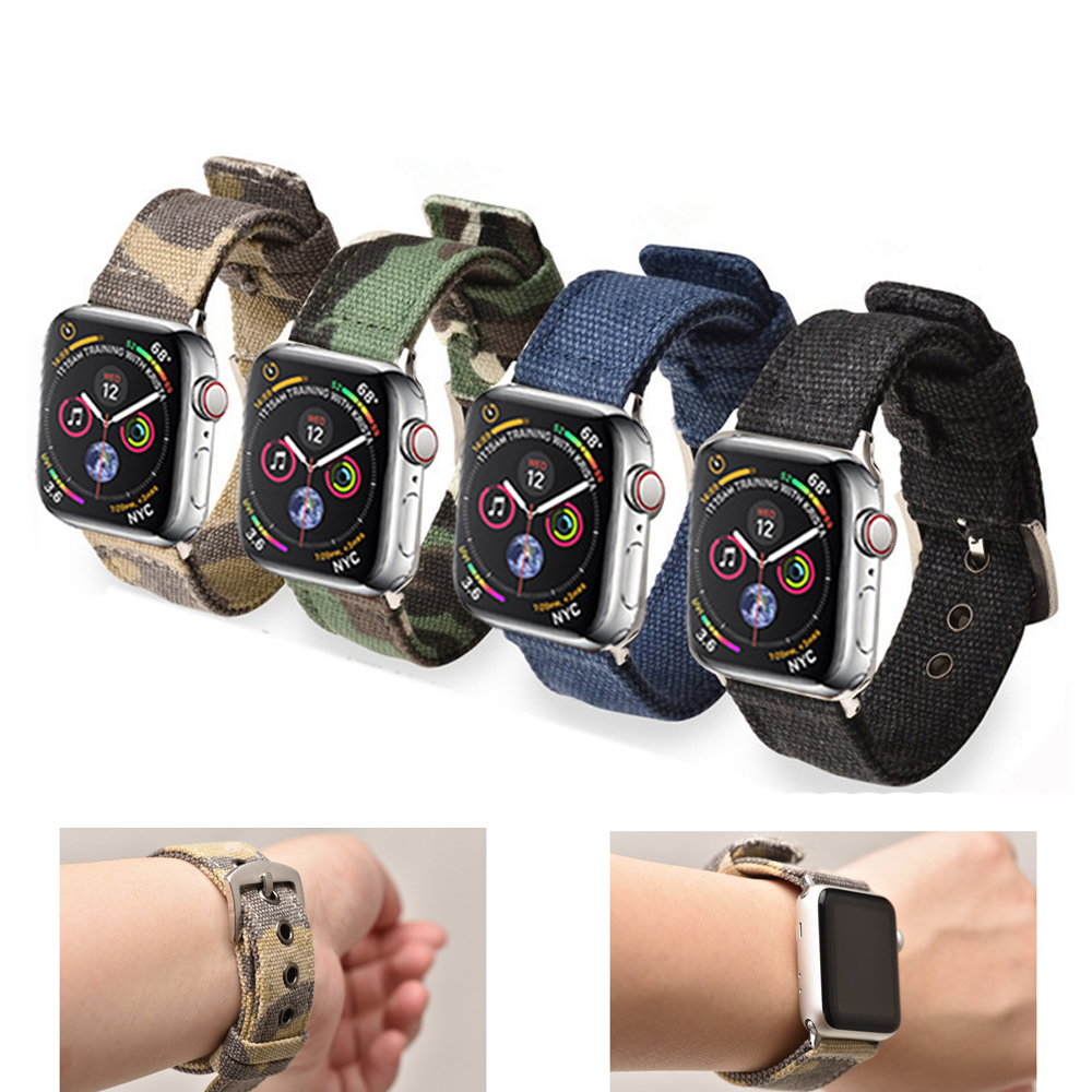 Bracelet en Nylon Sport pour montre apple 4 bandes 44mm 40mm iwatch bande 42mm correa pulseira montre apple 38 mm 5 4 3 2 bracelet bracelet de montre