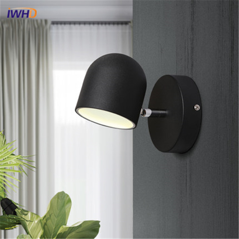 Modern Iron Wall Lamp LED Simple Indoor Lighting Wall Light For Livingroom Black White Creative Bedside Wall Sconce Lamps