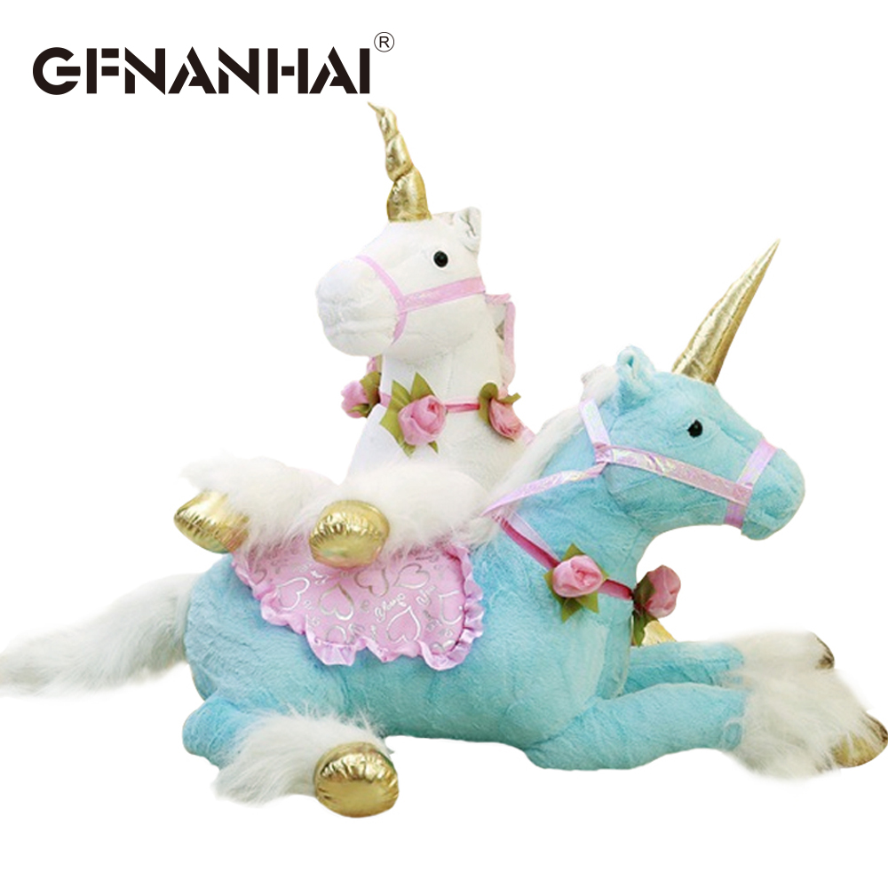 1pc huge size 100cm unicorn plush toy stuffed soft animal kawaii horse room decoration creative birthday gift for kids girls hi ce new arrival mechanical horse kawaii animal ride on horse lion rode on horse kids toy for children adult new year gifts