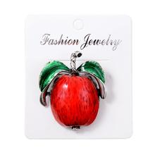 imixlot New Red Color Apple Brooches for Women Fashion Fruit Style Pins Carton Kids Accessories Summer Design 2019
