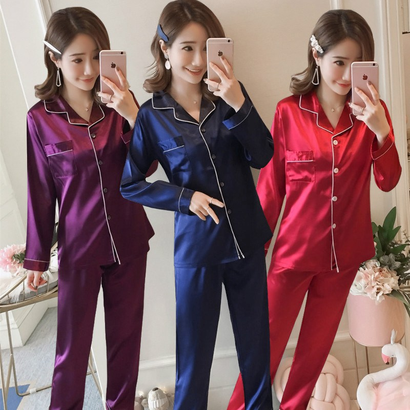2018 Spring Autumn Silk Satin   Pajamas     Sets   for Women Long Sleeve Pyjamas Sleepwear Loungewear Homewear Pijama Mujer Home Clothes