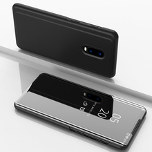 Smart Flip Case For Oneplus 6T 1+6T Clear View Leather Cover Stand Mirror for One plus
