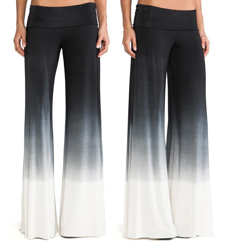 2017 Nové dámské tištěné kalhoty na široké noze Elegantní dámské volné ležérní kalhoty