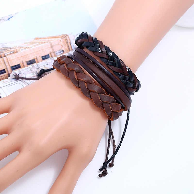 Hot bán 100% tay dệt Thời Trang Đồ Trang Sức Bọc multilayer Da Dây Thừng Bện Dây Đeo Cổ Tay men vòng đeo tay & bangles đối với phụ nữ