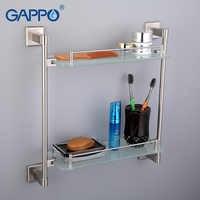 GAPPO Top Qualität Wand Montiert Bad Regale Bad Glas Doppel regale toilette regal Hardware Zubehör G1707-2