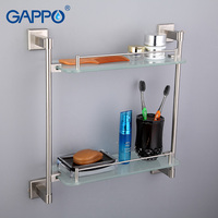 GAPPO Top Quality Gold Wall Mounted Bathroom Shelves Bathroom Glass Double Shelves Restroom Shelf Hardware Accessories
