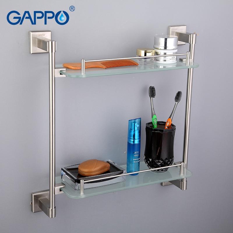 GAPPO Top Quality Wall Mounted Bathroom Shelves Bathroom Glass Double Shelves Restroom Shelf Hardware Accessories G1707-2