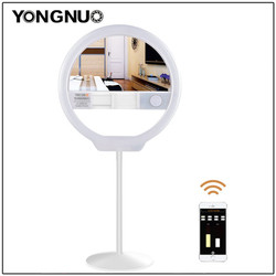 YONGNUO YN128 II Photography LED Ring Selfie Light with Makeup Mirror Bicolor Beautify LED Selfie Lamp for iPhone Mobile Youtube