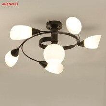 Moderne LED Kronleuchter Decke Lampe Eisen Indoor Luminaria Leuchte Amerikanischen Wohnzimmer Schlafzimmer Glas Decke Lichter