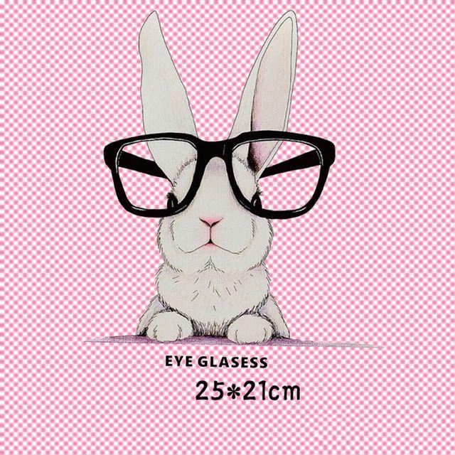 Мультфильм очки кролик гладить на уровне Нашивки передачу тепла пирография для DIY Одежда Футболка Сумки украшения Печать