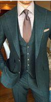 최신 코트 바지 디자인 녹색 트위드 남성 정장 슬림 맞는 사용자 정의 신랑 댄스 파티 턱시도 드레스 정장 3 개 재킷 재킷 + 바지 + 조끼 #