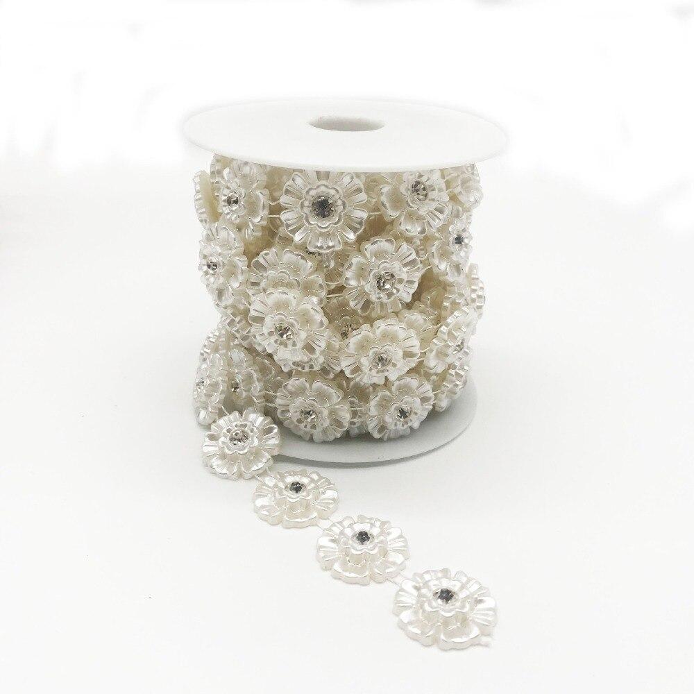 SINUAN jednoredni lanac od nogu od stakla, biser ABS biser bijela - Umjetnost, obrt i šivanje - Foto 3