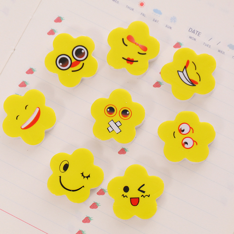 80pc/lot Student Stationery /cartoon Yellow Flower Rubber Eraser / Teaching Kindergarten Pupils Award Prize