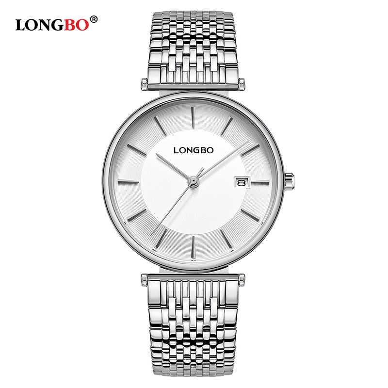 LONGBO 2020 新ファッションメンズレディース腕時計防水鋼ストリップ恋人のクォーツ腕時計カジュアルカップルの腕時計ギフト 5111