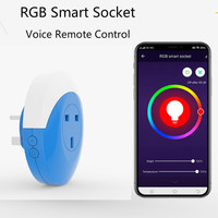 Smart Charger UK Plug WiFi Mini Socket Smart Outlet RGB lights Work withAlexa and Google Home No Hub Required Remote Control